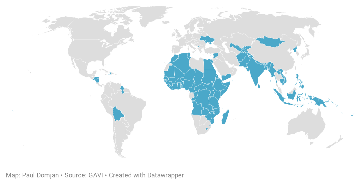 GAVI's COVAX Advance Market Commitment initiative aims to provide vaccines for up to 20% of the population of 92 developing countries