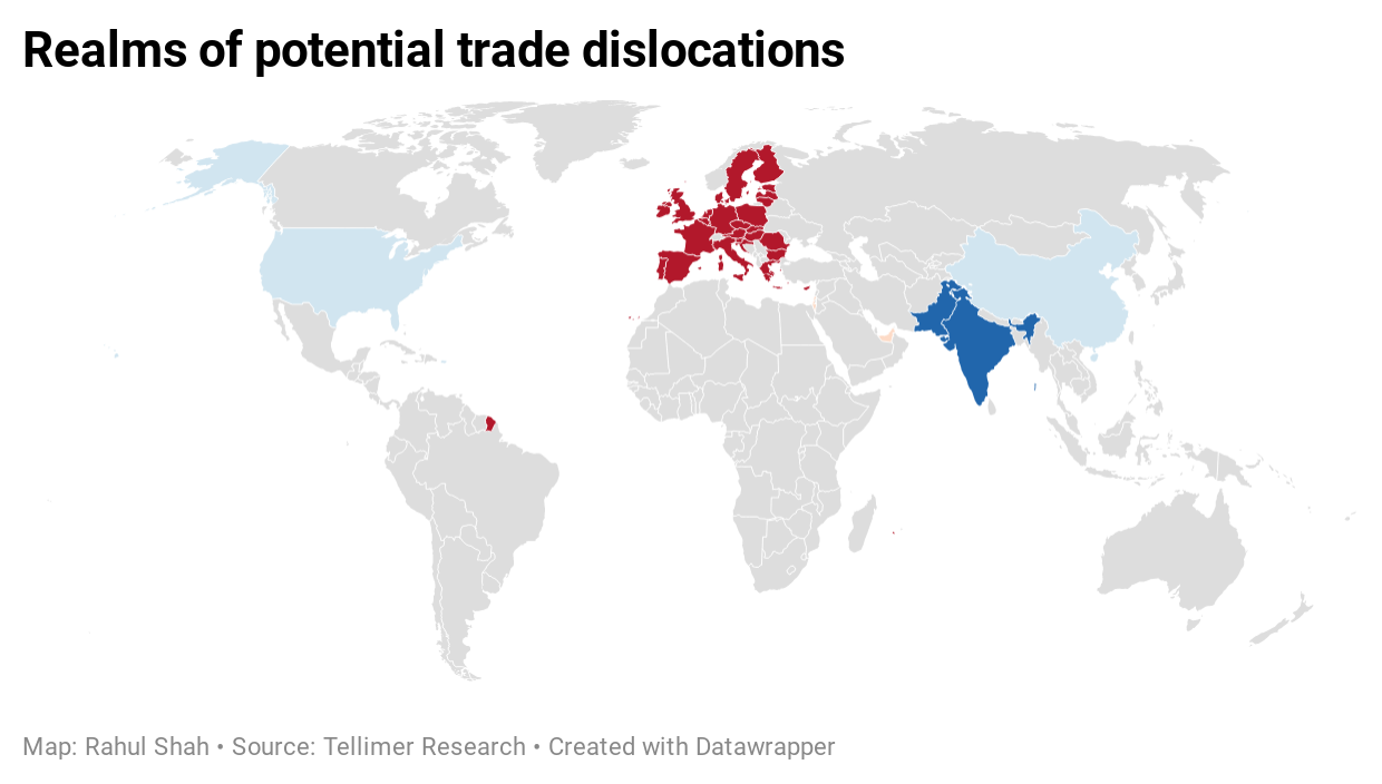 Realms of potential trade dislocations
